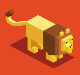 Lion 3D Pixelate