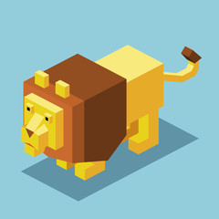 small Lion 3D Pixelate