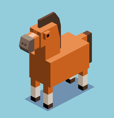 Brown Horse in 3D Pixelate