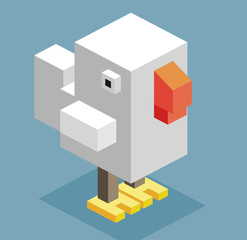 White Hen in 3D Pixelate