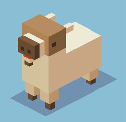 Goat in 3D Pixelate