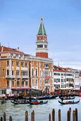 Gondolas in Venice water canal