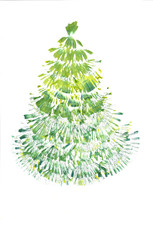 Drawing Green christmas tree