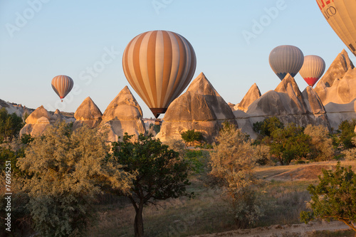 Foto op Aluminium Ballon Tourist attraction of Cappadocia , the flight with the balloon