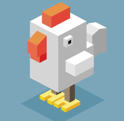 3D Pixelate White Cock