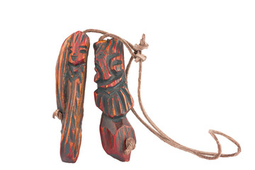 Wooden pendant amulet in form of anpair of men and women