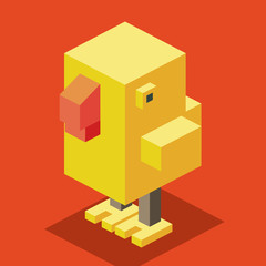 3D Pixelate Cute Chicken