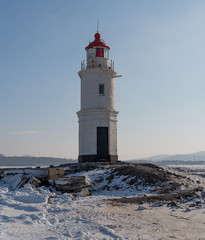 Lighthouse in Vladivostok. Winter season.