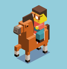 Riding horse in 3D Pixelate
