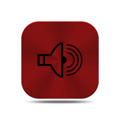 Red metal button with radio icon isolated