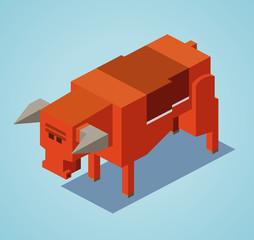 3D Pixelate Red Bull