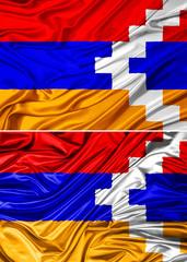 Waving Nagorno Karabakh Flag