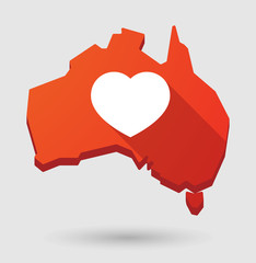 Australia map icon with a heart