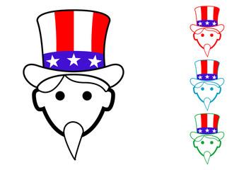 Pictograma icono Uncle Sam en varios colores