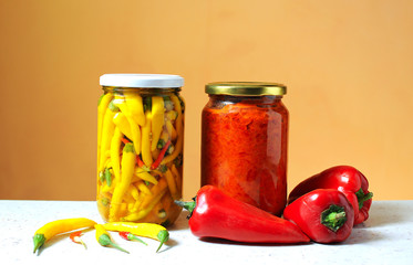 Red pepper  for nutrition in a jar of glass