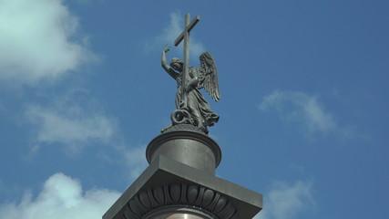 The angel on the Alexander column in St. Petersburg. 4K.