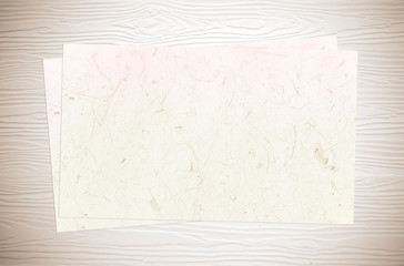 Mulberry papers on white vintage wood background, template