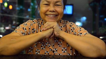 Portrait of old asian people, happy senior