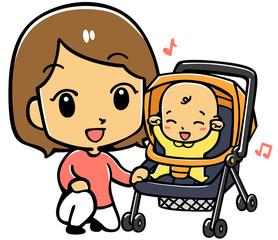 ベビーカーに乗る赤ちゃんとママ