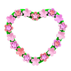 Valentine's day heart frame with cherry blossom, 3d illustration