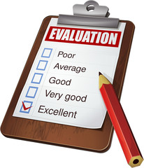Evaluation report on a clipboard