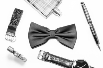 Black bow tie and men's accessories
