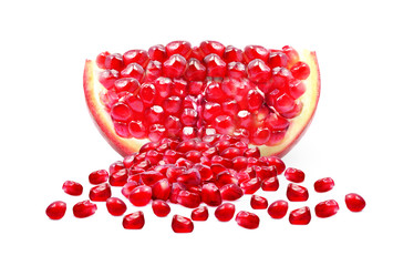 pomegranate and seeds isolated on white