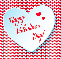 Valentine's day abstract background with cut paper heart. Vector