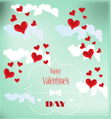 Valentines card with red hearts