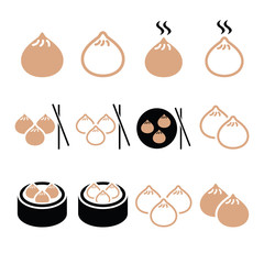 Chinese dumplings, Asian food Dim Sum vector icons set