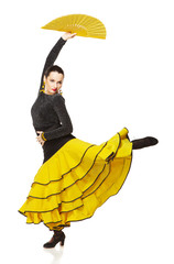 Flamenco dancer in a yellow skirt