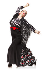 Flamenco dancer isolated on white background