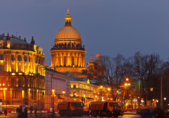 Evening St. Petersburg. View on St. Isaac's Cathedral