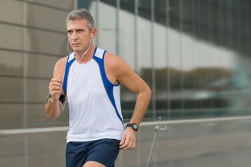 Man Running In The City Center