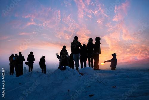canvas print picture Ein Wintertag geht zu Ende