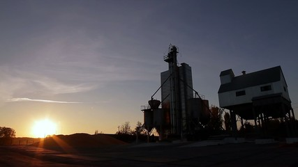 grain elevator on the background of beautiful landscape