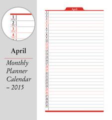 April, montly planner Calendar - 2015
