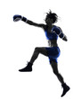 woman boxer boxing kickboxing silhouette isolated - 76103219