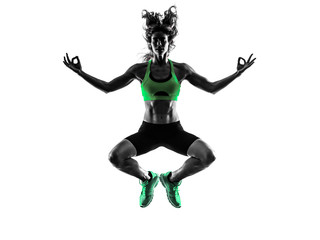 woman fitness jumping serene zen  exercises silhouette