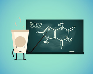 Cup teacher shows the chemical formula of caffeine on board-2