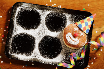 Sugared Doughnut with Carnival Hat and Confetti