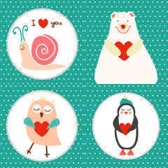 Set of illustrations with bear, owlet, snail and penguin.