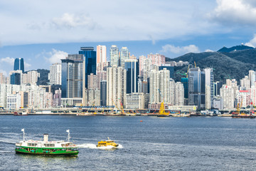 Central skyline waterfront Causeway Bay Hong Kong