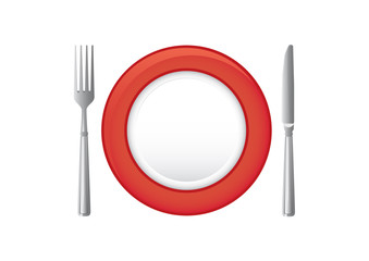 Colored plate, fork and knife