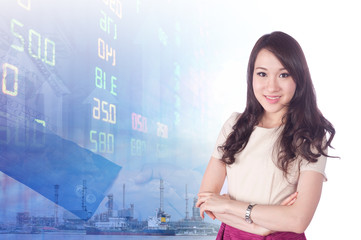 portrait beautiful young businesswoman has stock background
