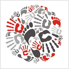 Mixed handprints and footprints - vector illustration.