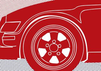 Gros plan pop art  sur l'avant d'une voiture rouge.
