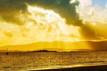 Sun rays over Malveiras islands