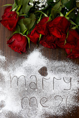 """Dark Red Roses and """"Marry Me"""" letters"""
