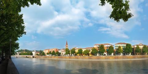 Panorama along the river Adige in Verona